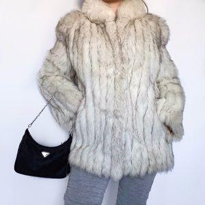 Vintage Blue Fox Fur Jacket 1970's